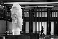 Big Brother (John St John Photography) Tags: chryslerbuilding grandhyatt streetphotography candidphotography grandcentralterminal large bust lobby man silhouette newyorkcity newyork hotel blackandwhite blackwhite bw monotone