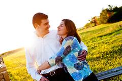Engaged in OK (Jawanza) Tags: wedding light sunset sky cute oklahoma alex field one engagement kiss open norman stellar ou becky rim robinson strobe fill interfit strobist