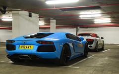 Standard combo. (Richard T Smith) Tags: blue light red baby colour london t smith spyder richard audi lamborghini rare v10 avt r8 v12 aventador v12avt