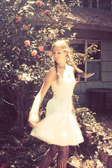 (beam-of-moon) Tags: california pink flowers trees light portrait woman white house selfportrait blur art nature stockings girl turn forest canon vintage hair dance cabin dress spin hidden twirl braids flick