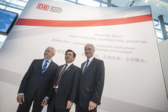 Rüdiger Grube, Zhenglin Feng and Peter Ramsauer at the DB Stand
