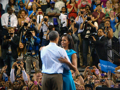 Barack and Michelle Obama (James B Currie) Tags: political politics rally richmond democrats obama 2012 barackobama michelleobama obamas barackandmichelleobama barackandmichelle obamarallyvcu