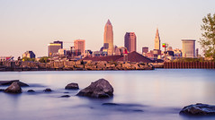 City of Cleveland (Yuanshuai(TIM) Si) Tags: park longexposure downtown lakeerie cleveland great lakes towercity cuyahogariver nd400 keytower pentax50mmf17 bptower cleveladn   huntingtontower  pentaxk5