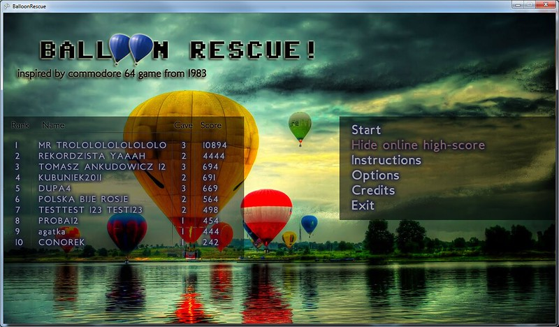 Balloon Rescue! high score system