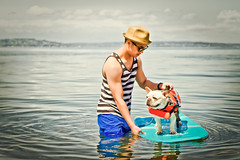 Surfing French Bulldog (Patrick|Choi) Tags: seattle portrait dog pets beach swimming canon eos washington skateboarding parks surfing portraiture 7d alkibeach frenchbulldog recreation lifevest environmentalportrait animalportrait