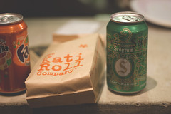 Kati Roll (trhee_) Tags: nyc food brown ny canon bag ginger indian ale roll soda kati burrito fanta seagram t2i thattrheeblogspotcom