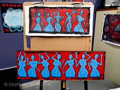 """""""Good Times in May"""" (Stephanie """"Biffybeans"""" Smith) Tags: blue girls red white painting acrylic marker lehighvalley goodtimes stephaniesmith voluptious posca rubenesque visualartist bananafactory biffybeans"""