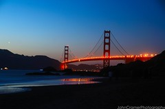 Golden Gate Bridge  [Explored ] (JohnCramerPhotography) Tags: sanfrancisco sea seascape beach silhouette landscape surf fireworks illumination goldengatebridge bakerbeach surfe 75thanniversary