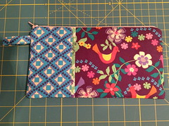 Wristlet 1 - Exterior (Witty Girl) Tags: blue birds june purple sewing crafts inside projects 2012 wristlet joannfabrics