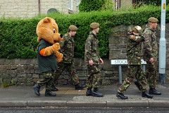 carnival (steve marland) Tags: bear uk carnival england rain army mascot camouflage stockport teaparty 2012 marple