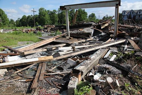 Unburnt but demolished breezeway
