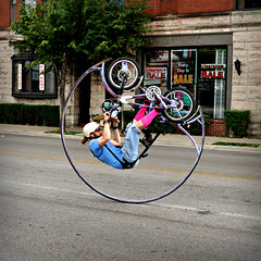 Circle Bike Dude ~ Chicago (Viewminder) Tags: life street chicago love strange beautiful sunshine bicycle living weird crazy cool interesting fantastic awesome wicked damn travis karma unusual trick kindness incredible craziness daydream bizarre understanding flips stunt unbelievable jingoistic soulpatrol flipbike viewminder dontattemptthisathome circlebikedude innerconsciousness