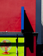 (morbs06) Tags: blue light shadow red urban streets colour detail green lines architecture facade düsseldorf