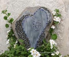 """Stormy"" Mosaic Heart Garden Stone (Chris Emmert) Tags: blue art rock stone garden beads heart mosaic mixedmedia gray stormy stainedglass swirl homedecor streaky temperedglass gardenstones flickrmosaicartists chrisemmert chrisemmertmosaic"