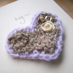 Valentines brooch-card - recycled card and recycled wool (Zygotegifts) Tags: wool hug day heart brooch craft valentine mothers card send knitted folksy zygotegifts