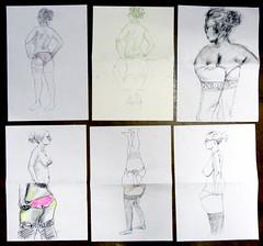 Oficina de Modelo-Exquis, UnB, 30 de junho 2012, n. 15 (Dona Mincia) Tags: woman distortion art creativity arte drawing proportion desenho criatividade colaborativo modeloexquis