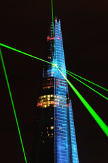 London: Shard Laser Show (ovofrito) Tags: show uk england green london glass night nikon lasers londres laser shard theshard d300s
