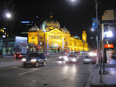 Flinders St. Station (russelljsmith) Tags: city travel autumn vacation holiday building fall station night traffic australia melbourne victoria clear dome domes fiends flindersst buildong 2011 77285mm traffiuc