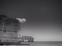 Black & White Sea Against Rocks