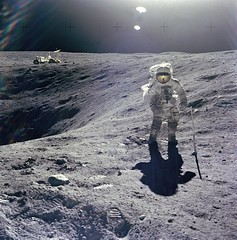 Apollo 16: Duke on Crater's Edge (NASA on The Commons) Tags: moon duke astronaut nasa craters astronauts crater apollo projectapollo lunarrover charlieduke apollo16 apolloprogram charlesduke apolloxvi