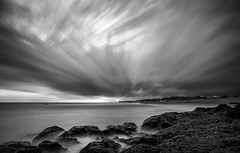 Cloudy Day At Pererenan Beach (eggysayoga) Tags: longexposure blackandwhite bw bali cloud motion beach monochrome indonesia nikon rocks tokina 116 uwa slowspeed ultrawideangle canggu 1116mm pererenan d7000