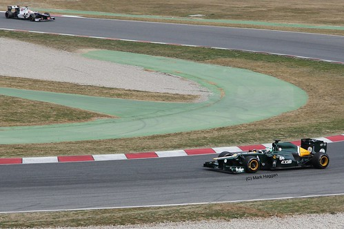 Heikki Kovalainen in his Caterham F1 car in Winter Testing, Circuit de Catalunya, March 2012