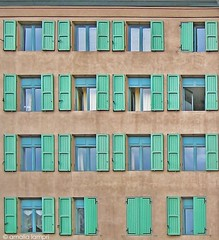 Symmetry in Grenoble (amalia lam) Tags: travel blue houses homes windows vacation france streets green colors architecture grenoble canon buildings photography europe cities ventanas shutters walls roads towns volets nationalgeographic capitals fentres dwellings