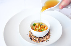 "1st Course: Pearl Barley and Chanterelle Mushroom ""Potage"" (ulterior epicure) Tags: newyork lunch restaurant extended timewarner michelin 2012 tastingmenu perse thomaskeller elikaimeh"