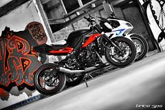 Twice (Brice675) Tags: triumph daytona 675 motorbike street triple streettriple 675r ducati honda kawasaki aprilia yamaha suzuki noiretblanc noir et blanc graffiti art bokeh nikon
