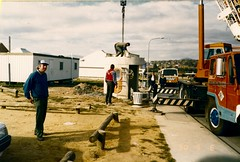 Installation of a ACTION Concrete Bus Shelter in 1990 (ArchivesACT) Tags: action canberra busstops brutalistarchitecture erindale wanniassa archivesact