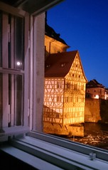 It was a great view from the hotel room window! (:Linda:) Tags: germany bavaria franconia town bamberg openwindow river halftimbered night sky