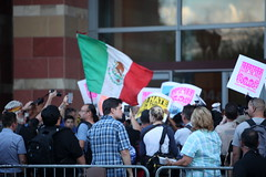 (ONE/MILLION) Tags: downtown phoenix arizona donaldtrump rally protest support demonstrations people crowds politics politicians law enforcement homeland security police bikes bikers immigration illegal signs colorful convention center williestark onemillion