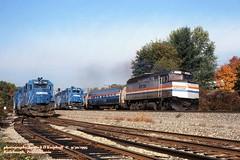 AMT 277 e, Radibaugh, PA. 9-30-1995 (jackdk) Tags: train railroad railway amtrak amtrakf40 f40 f40ph emd emdf40 cr conrail pittsburghmainline radebaugh emdgp38 gp38 gp382 emdgp382 sd45 sd452 emdsd45 passengertrain passenger pennsylvanian