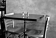 Dining In Black and White (It Sure Feels Like Fall...Love Love Love It!!!) Tags: theflickrlounge weeklytheme wk33 blackwhiteorsepia table annapurna chairs salt pepper restaurant