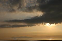 Three-Mast Yacht, Troon, off Barassie Beach #4 (moonfan23) Tags: yacht 3mast troon ayrshire scotland sailing sunset reflection seascape