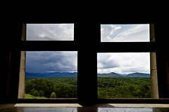 View out the kitchen window. - Biltmore Estate - Asheville North Caroina (Meridith112) Tags: nc northcarolina westernnorthcarolina appalachianmountains blueridgemountains pisgahnationalforest smokeymountains south window view mountains mountain storm clouds trees forest biltmoreestate estate manor home range mountainrange august 2016 summer nikon nikon2485 nikond610 greatsmokeymountains weather stormy framed framing storms biltmore light frame