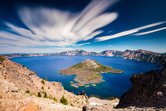 Clouds in Motion (PIERRE LECLERC PHOTO) Tags: craterlake oregon sevenwondersoforegon wizardisland volcano longexposure cloudsinmotion clouds water rim crater cindercone landscape nature naturalwonder scenic pierreleclercphotography