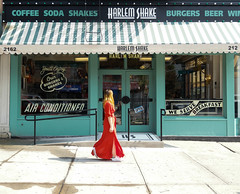 In Stride (Barney A Bishop) Tags: eastharlem noflash reddress beauty color fashion harlem manhattan nyc newyorkcity photography saturday shadows stripes style newyork unitedstates