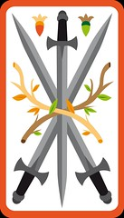 3 d'Épée (aluniverse) Tags: bâtons coupes épées deniers tarotdemarseille arcanesmineurs arcanemineur 56cartes