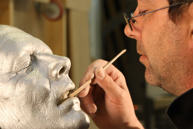 Props artist Steve Jolley working on the severed head prop used in Salome © David Kaplowitz/ROH 2012