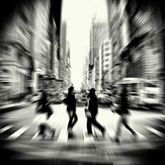 midtown breeze (fotobananas) Tags: city nyc urban blackandwhite newyork blur crossing traffic zoom walk manhattan 5thavenue midtown zebra abbeyroad fifthavenue breeze s95 fotobananas