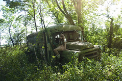 (yyellowbird) Tags: house selfportrait bus abandoned girl forest truck dodge cari schoolbus jobrated ilivehere