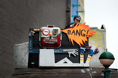 Bang! (joe holmes) Tags: streetart subway graffiti rae houstonstreet fruitstand owner broadwaylafayette