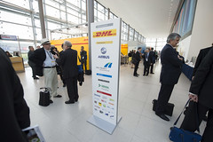 Delegates at the DHL stand