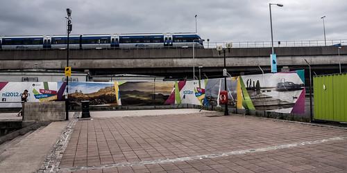 Train crossing The Railway Bridge Beside The Lagan Weir (Belfast)