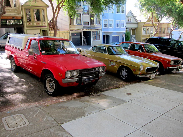 sanfrancisco red volvo pickuptruck 1800 142 datsun 620 p1800 1800e kingcab 142e lilhustler