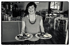 Alice (FreeRange Pictures) Tags: white black smiling blackwhite cafe cornwall penryn misspeapods alicemarston