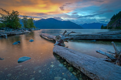 Porteau Cove B.C. (Alan Drake) Tags: sunset beach water sand nikon logs wideangle d7000
