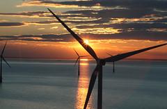 Wind Turbine Sunset (BL259) Tags: uk sunset sea sky cloud sun green london thames photography energy wind aerial clean windfarm turbines