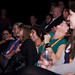 Audience members watching The Brockas in concert at the Traverse Theatre